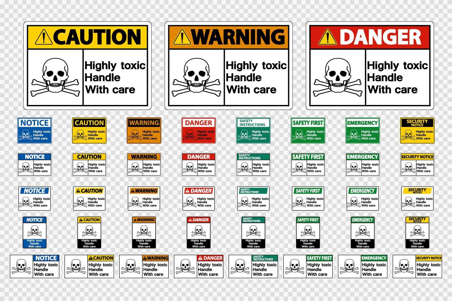 Impostare la maniglia altamente tossica con segni di cura vettore