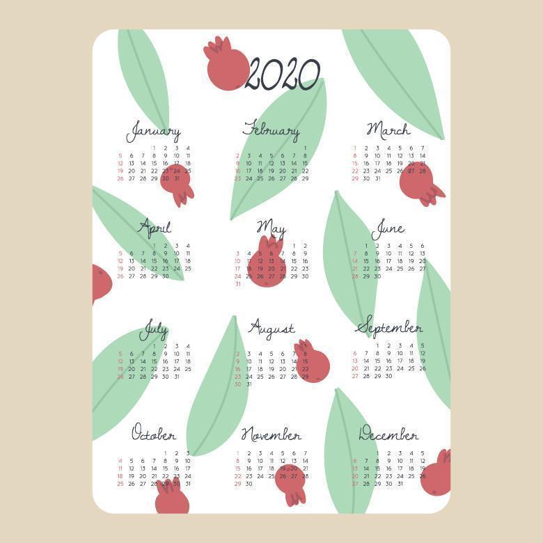Calendario 2020 femminile e carino vettore