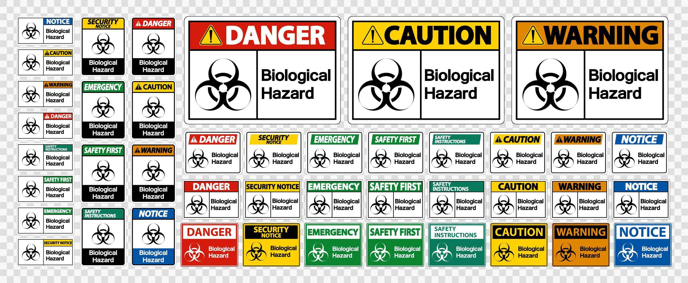 Signos de símbolo de peligro biológico sobre fondo blanco vector