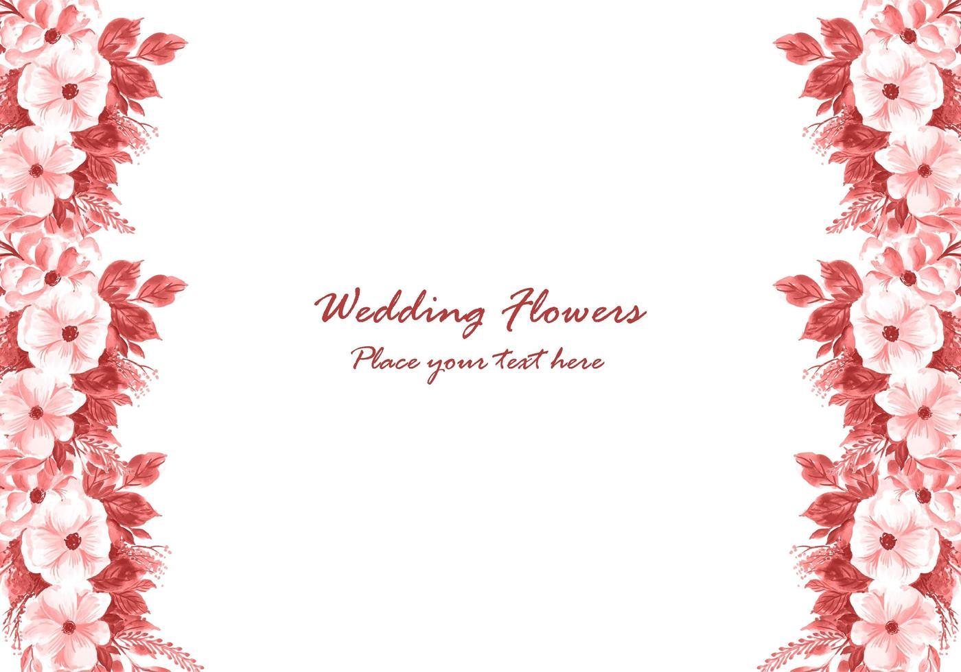 Bröllop dekorativ blommoram med bakgrund för inbjudningskort vektor