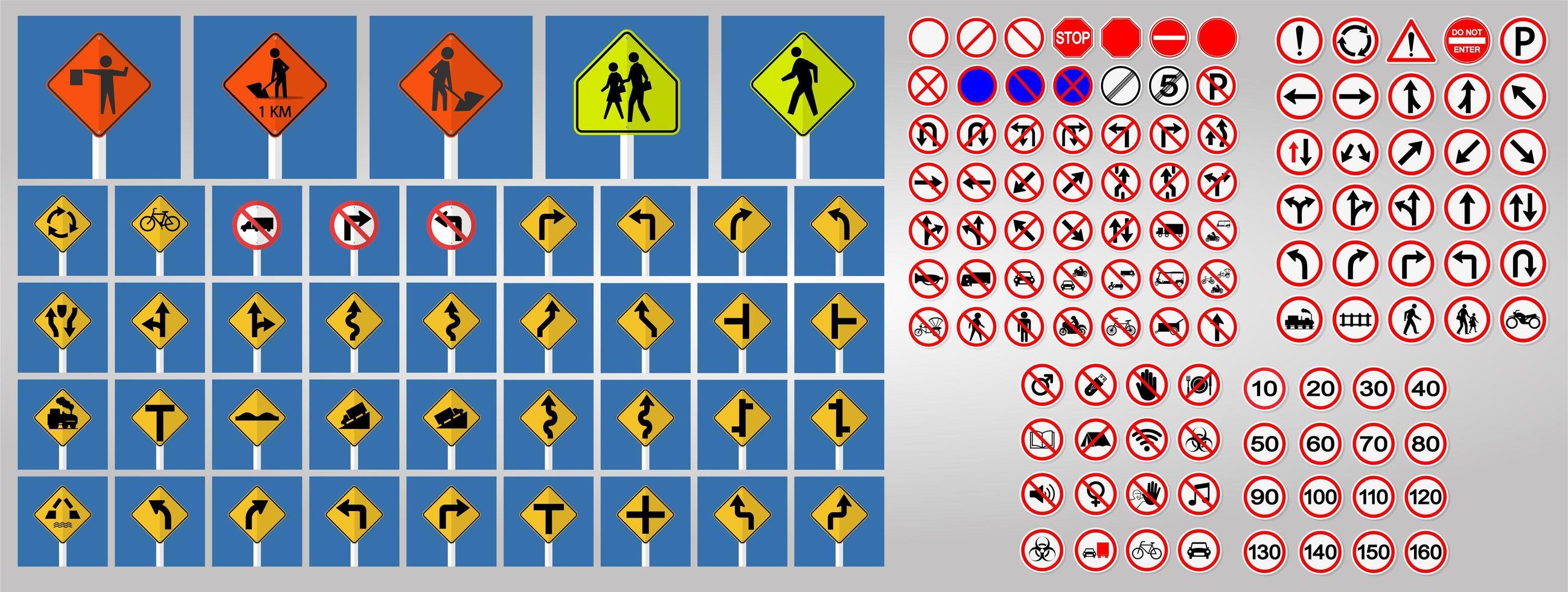 Conjunto de señales de tráfico, prohibido y advertencia de señales de símbolo de círculo rojo vector