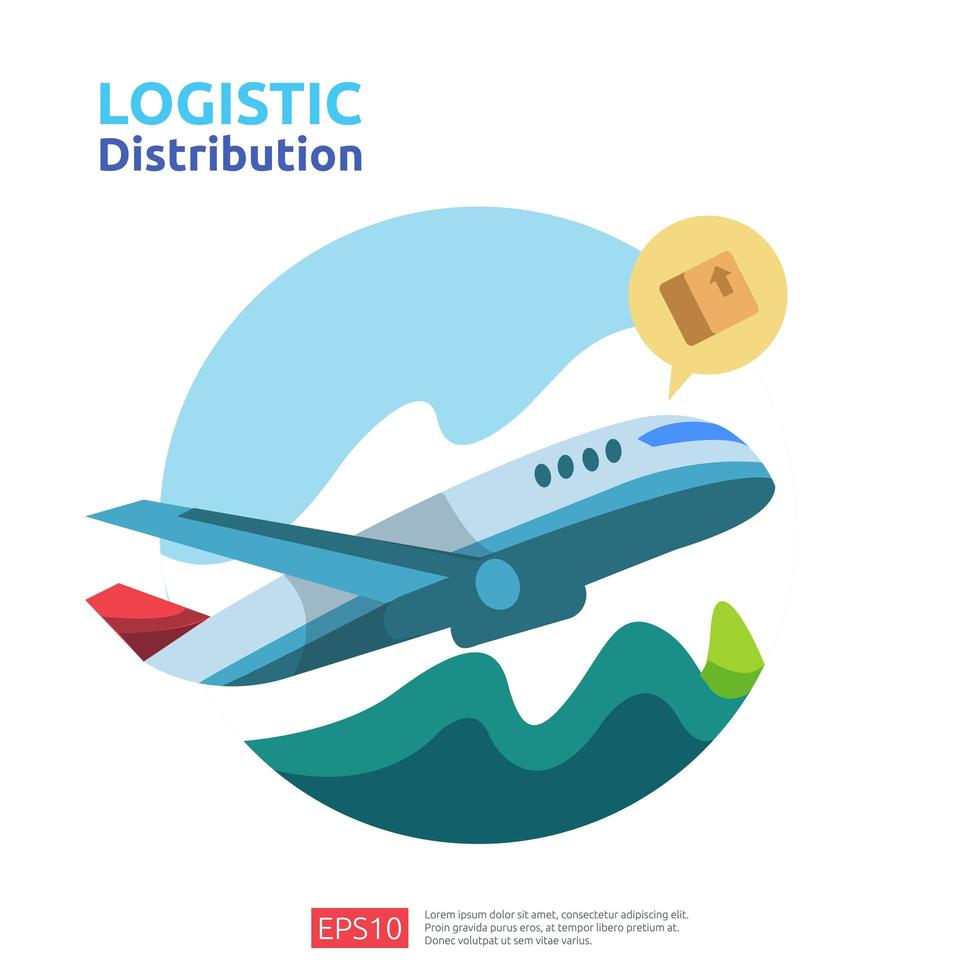 concept de fret d'avion de distribution logistique vecteur