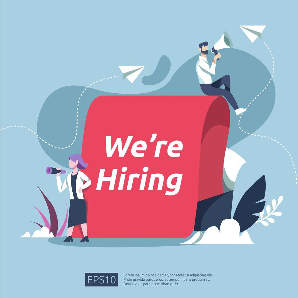 We're Hiring Recruitment Concept vector