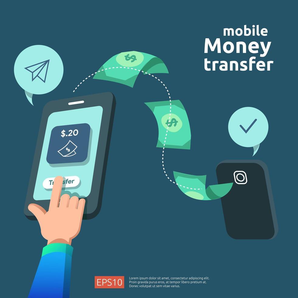Concepto de transferencia de dinero vector