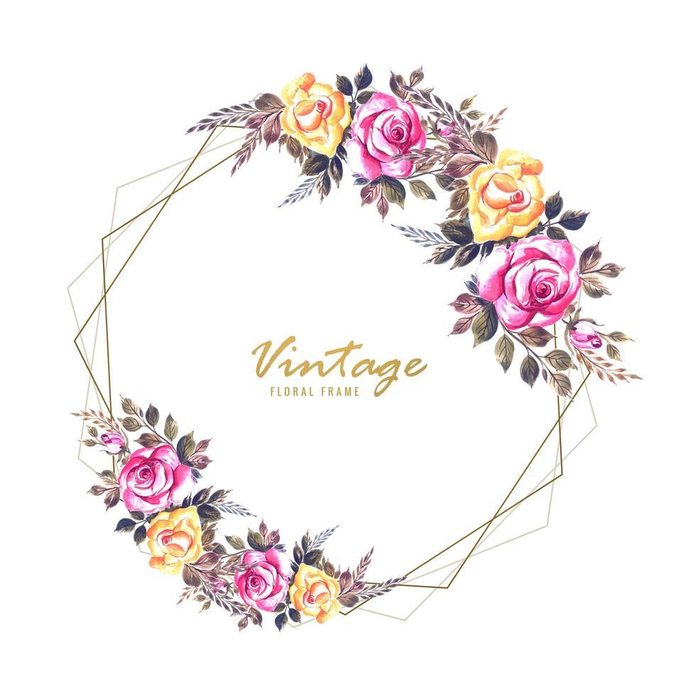 diseño de tarjeta de marco de flores de invitación de boda vector