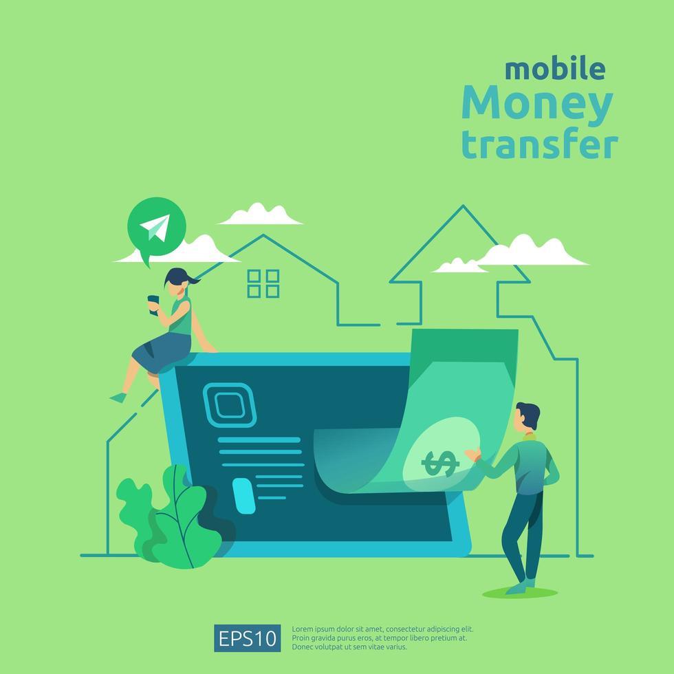 concepto de transferencia de dinero para el mercado de comercio electrónico vector