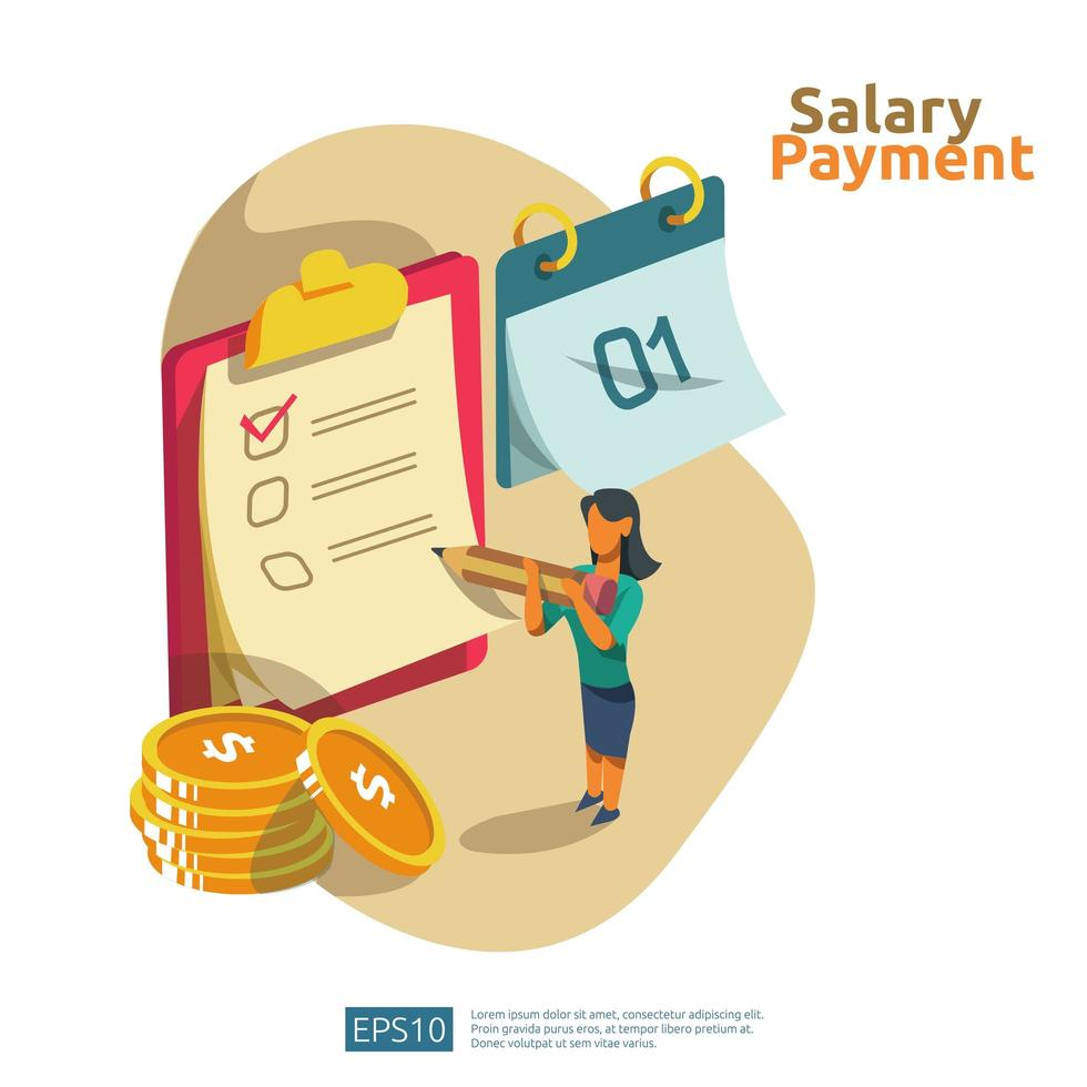 stipendio e concetto del libro paga vettore