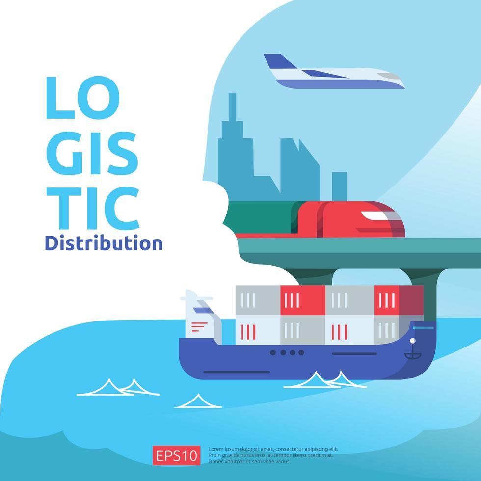 concepto de servicio logístico de distribución de carga vector