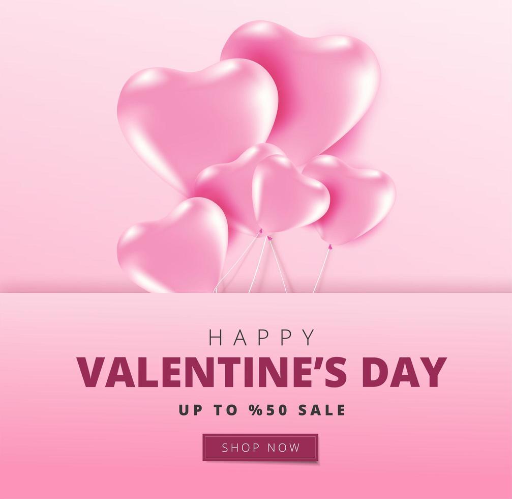 Happy Valentine's Day sale banner vector