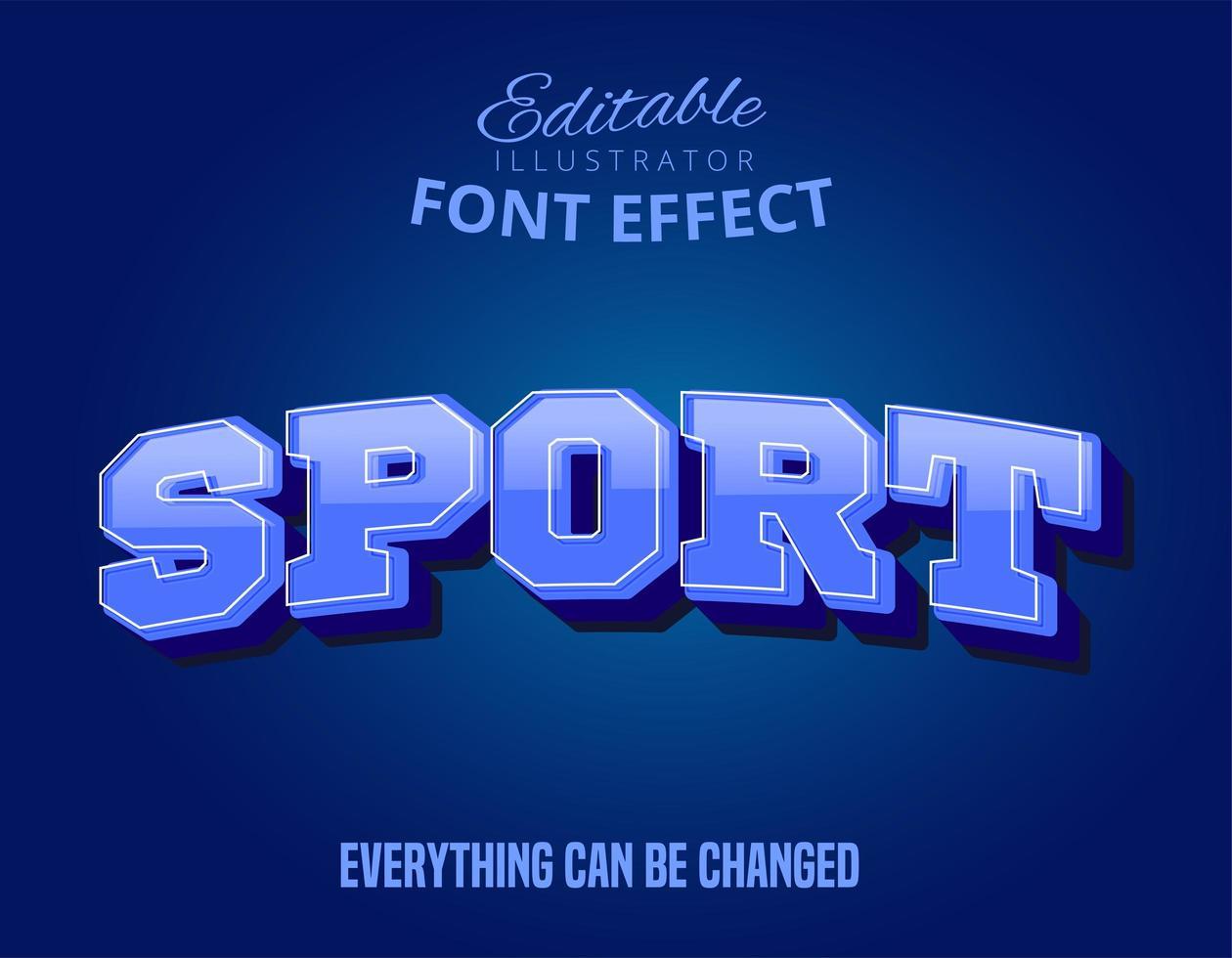 Testo Sport blu, effetto di testo modificabile vettore