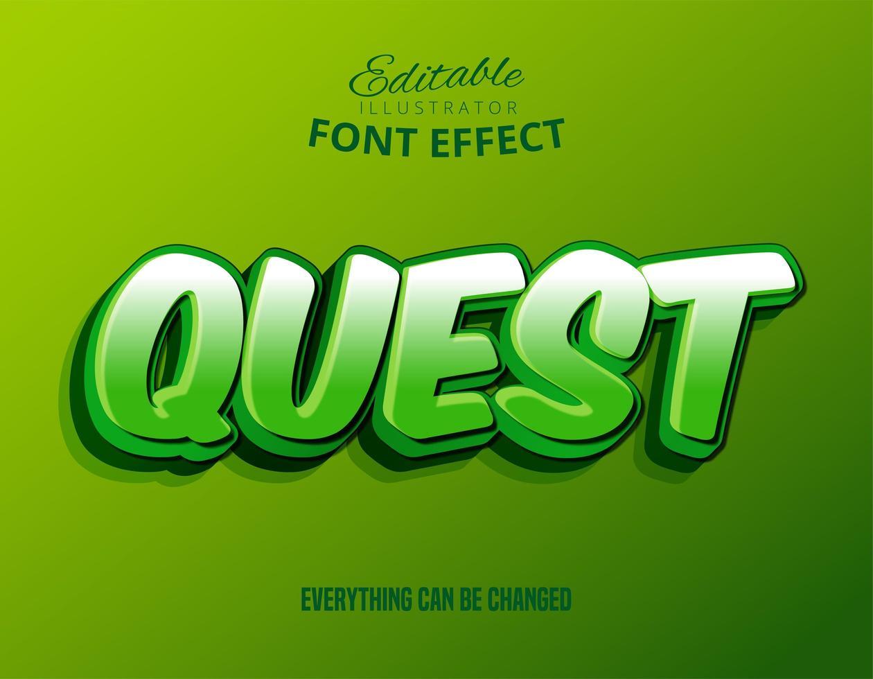Testo Quest a strati verdi, effetto di testo modificabile vettore