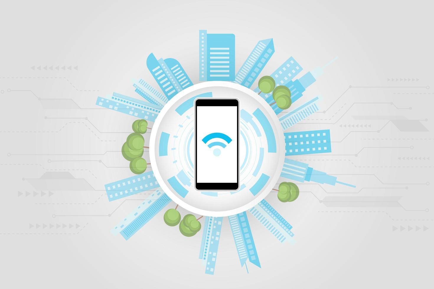 concept de ville intelligente fond de connexion de haute technologie vecteur