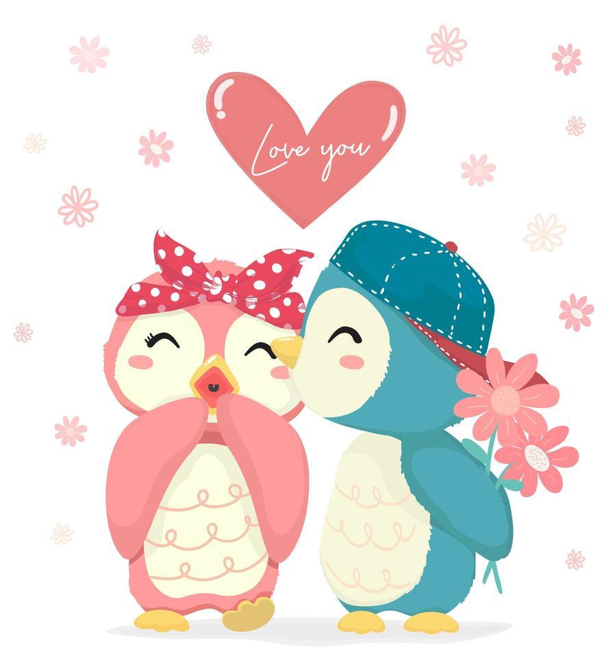 Chico pingüino con flor besando a niña pingüino vector