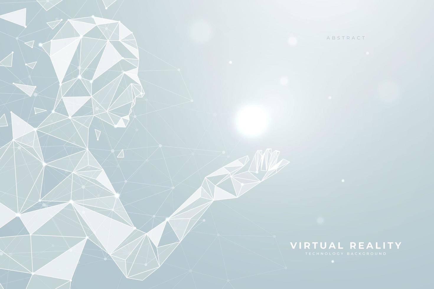 Robô humanoide geométrico segurando luz vetor