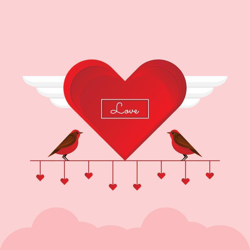 Lover birds on red branch with hearts vector