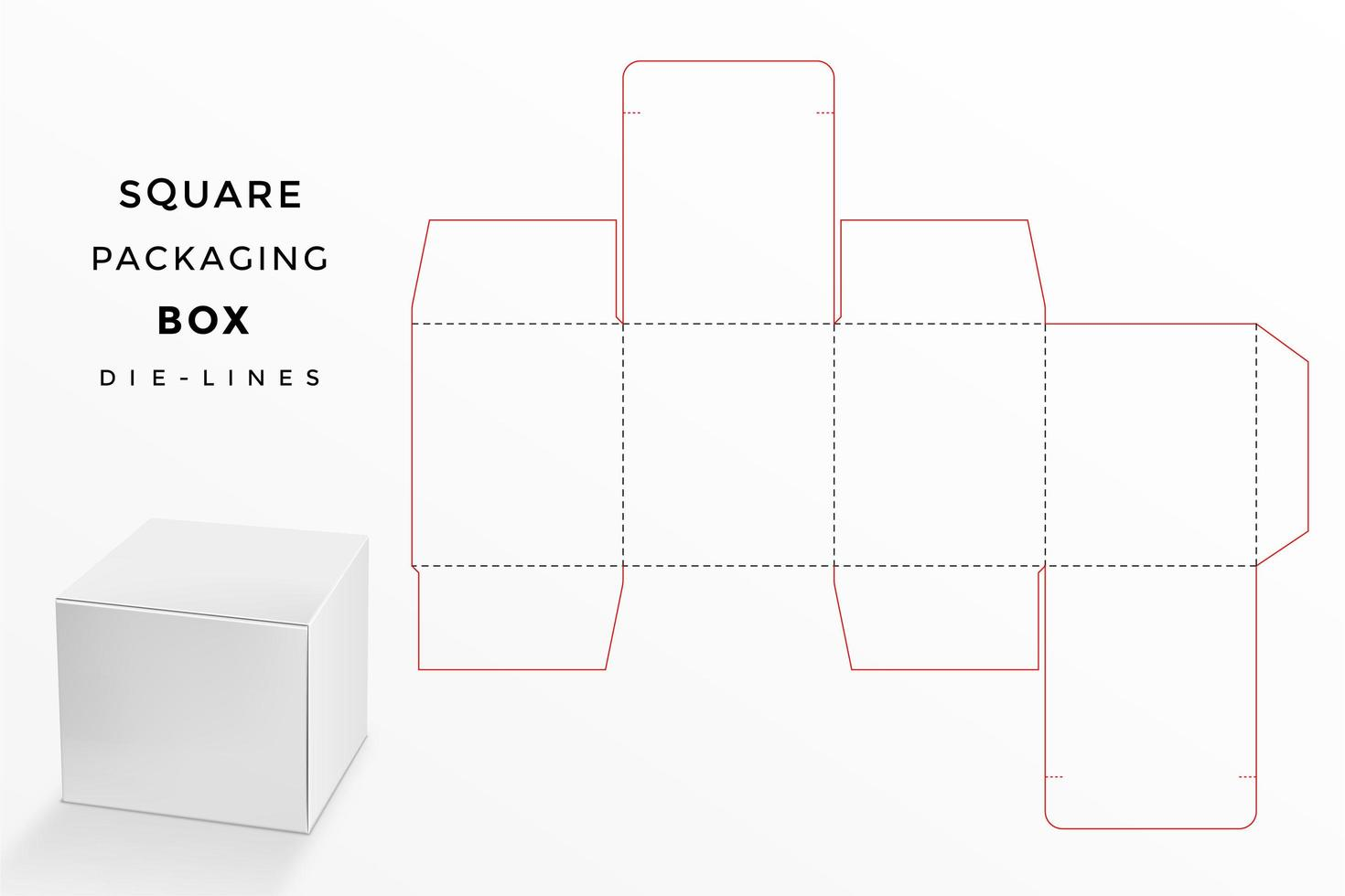 caja cuadrada con línea de troquel vector