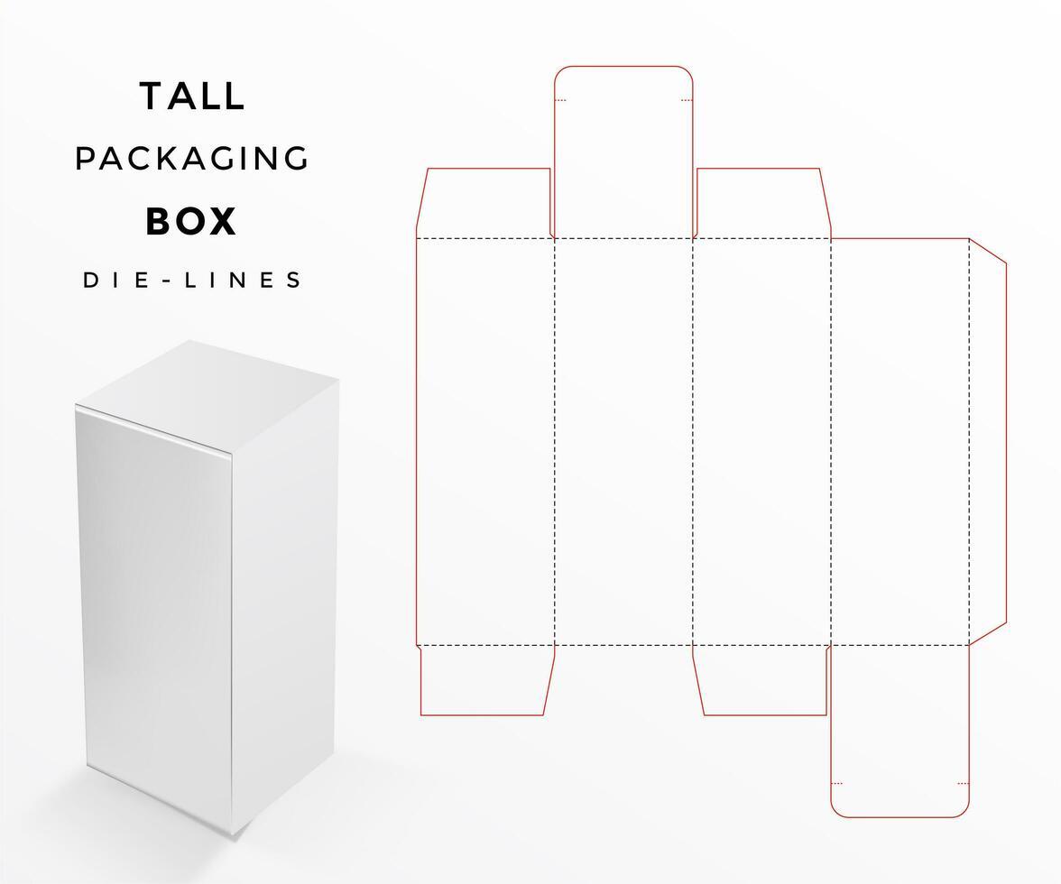 caixa de embalagem alta morrer linhas vetor