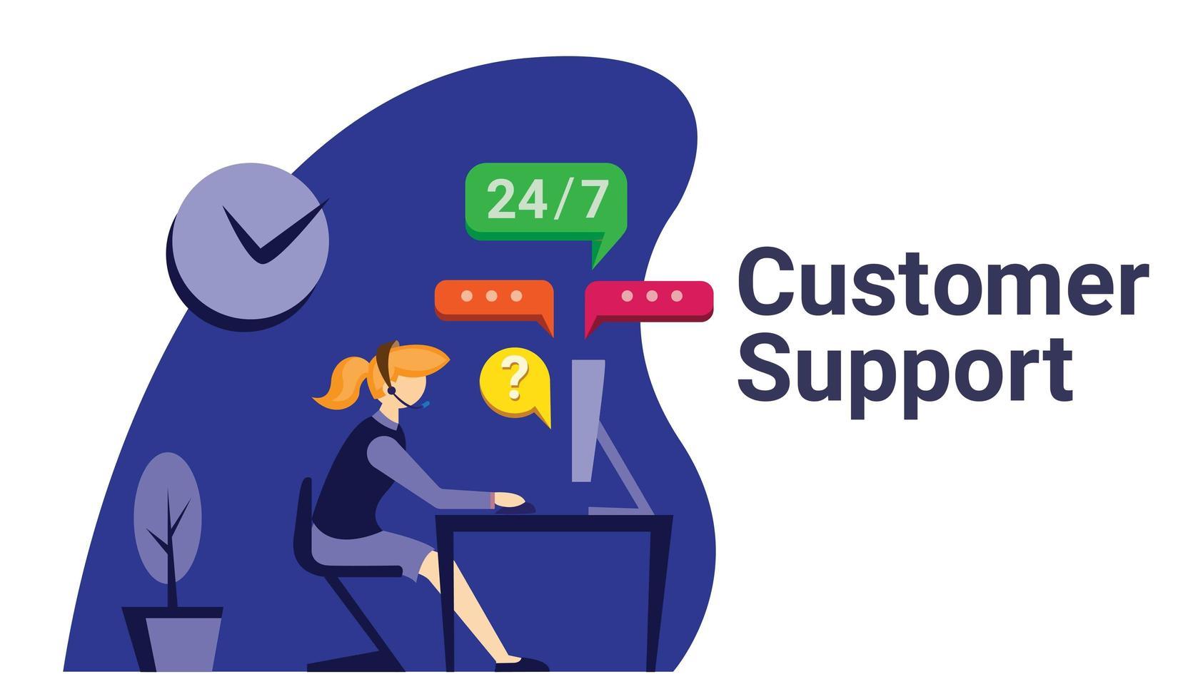 Customer support flat illustration  vector