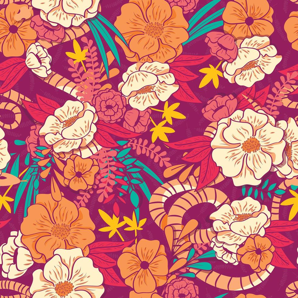Floral jungle with snakes seamless pattern vector