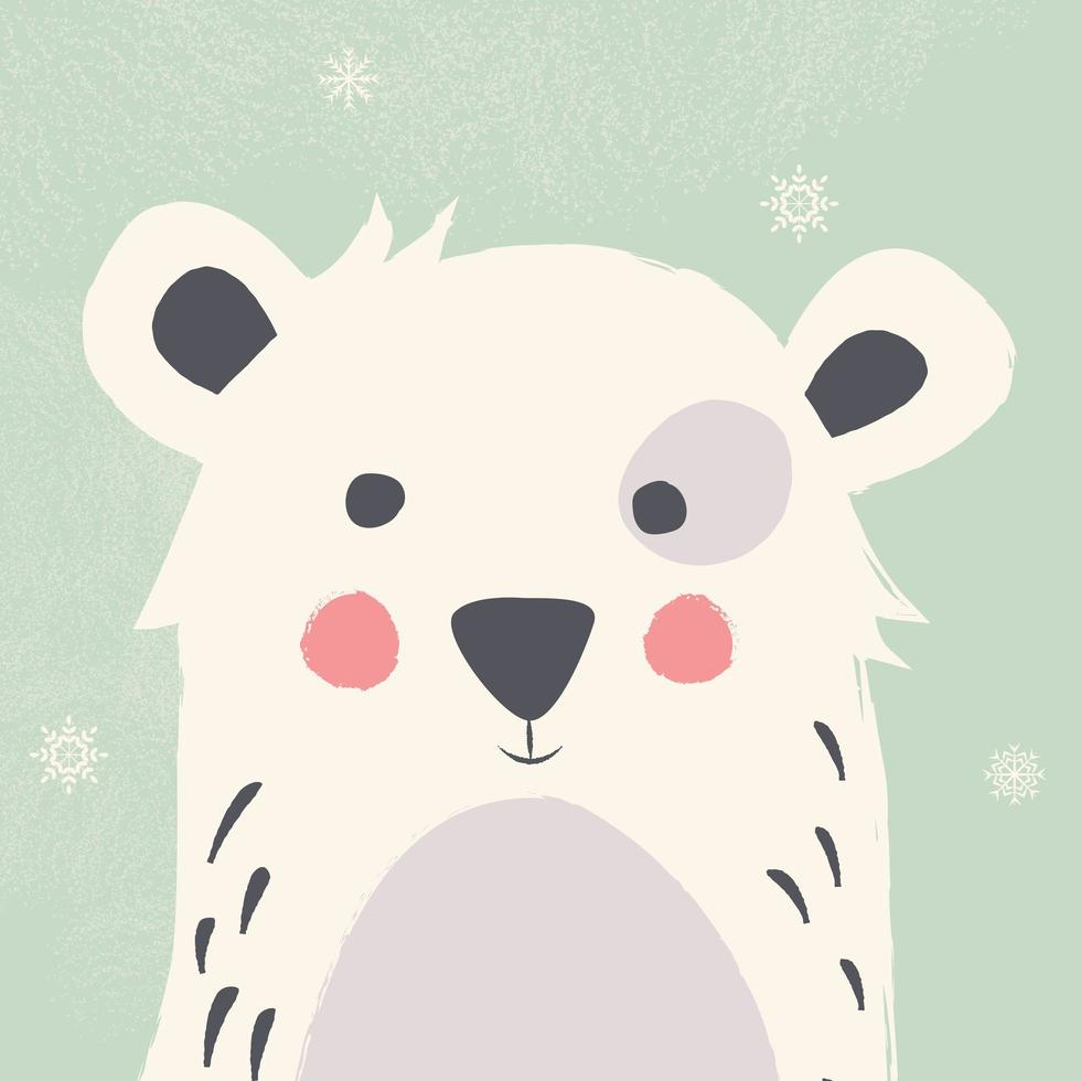 Fofo Urso Polar Com Flocos De Neve Sobre Fundo Verde Download