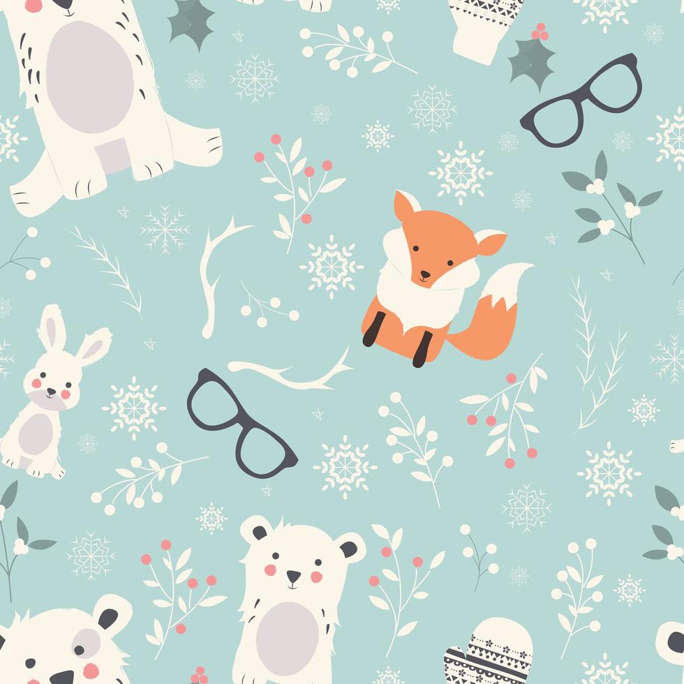 Seamless Merry Christmas Animals pattern vector
