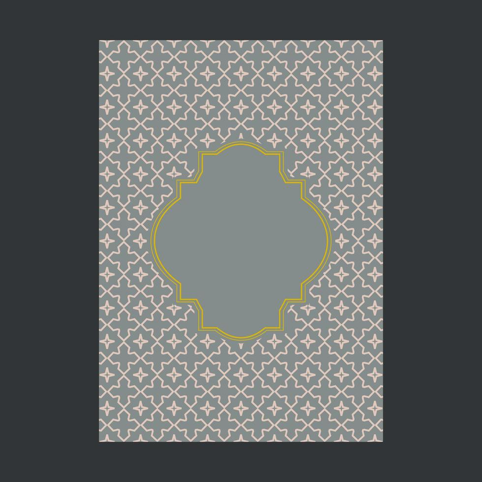 Gray cover with Gold Ornamental Pattern and Frame vector