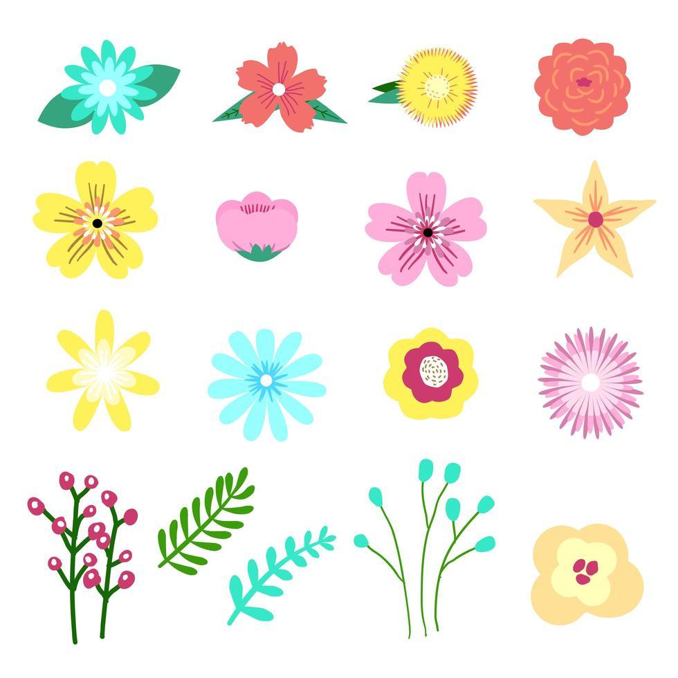 Conjunto de adorável floral, elemento de flor em estilo gráfico moderno vetor