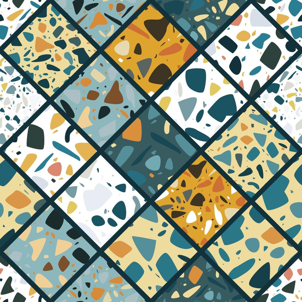Terrazzo seamless pattern design with hand drawn rocks vector