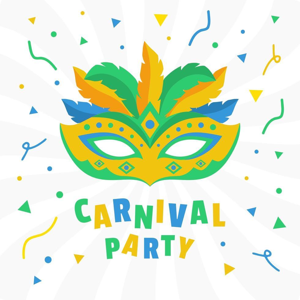 Máscara e confetes da festa de carnaval Brasil 2020 vetor