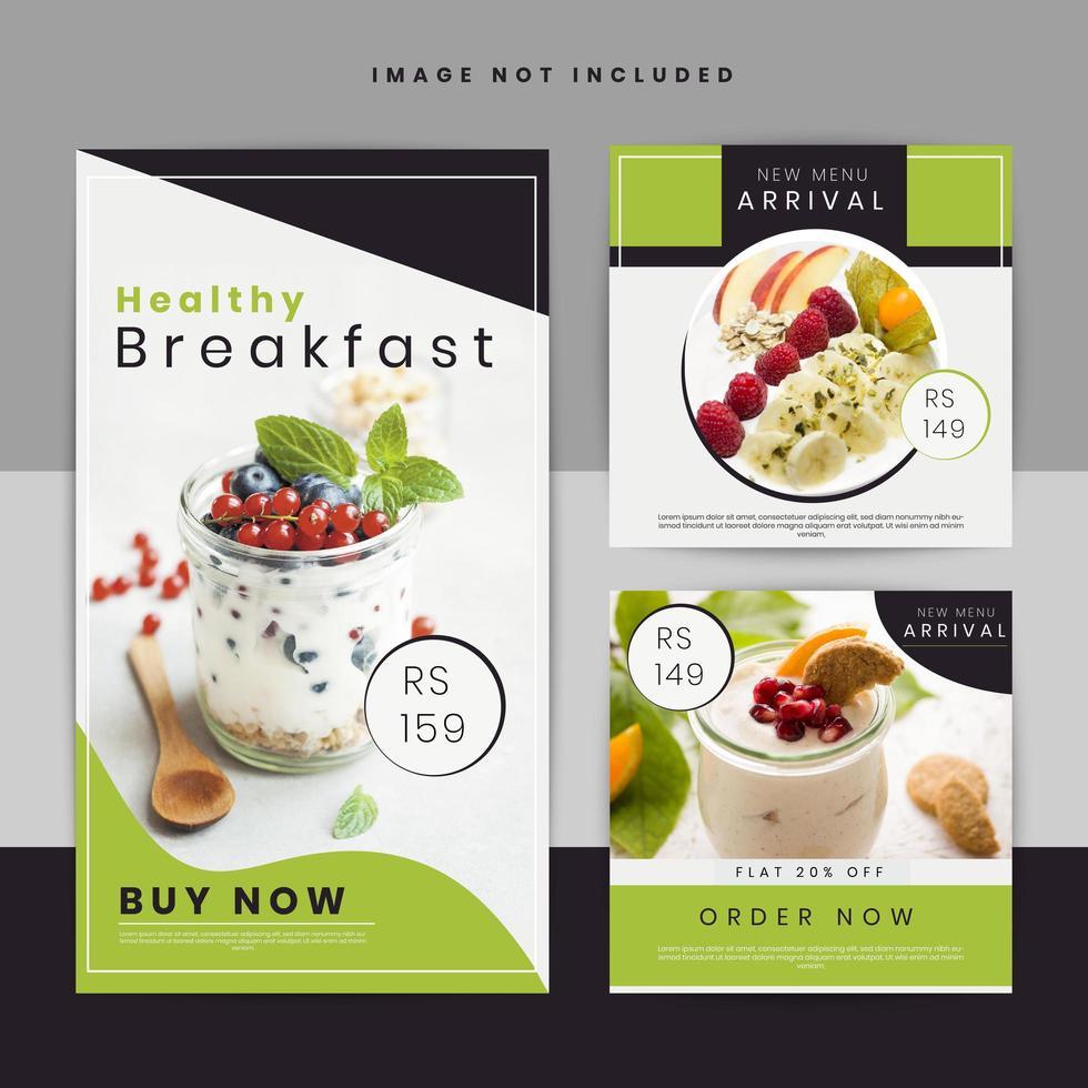 Conjunto de carteles de redes sociales de oferta de alimentos vector