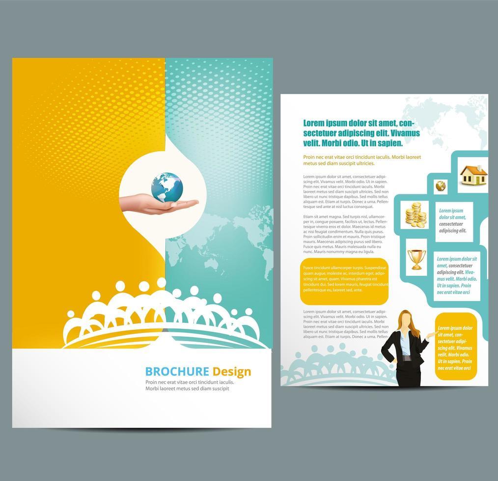 modelo de panfleto de negócios com meio-tom e mapa vetor