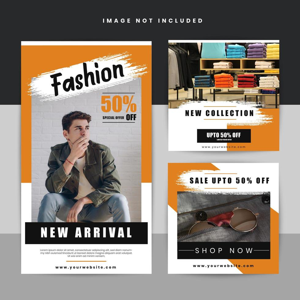 Insieme di modelli di social media di vendita di moda vettore