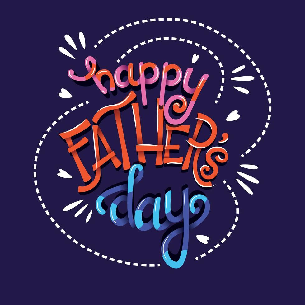 Happy Fathers Day, hand lettering typography modern poster design vector