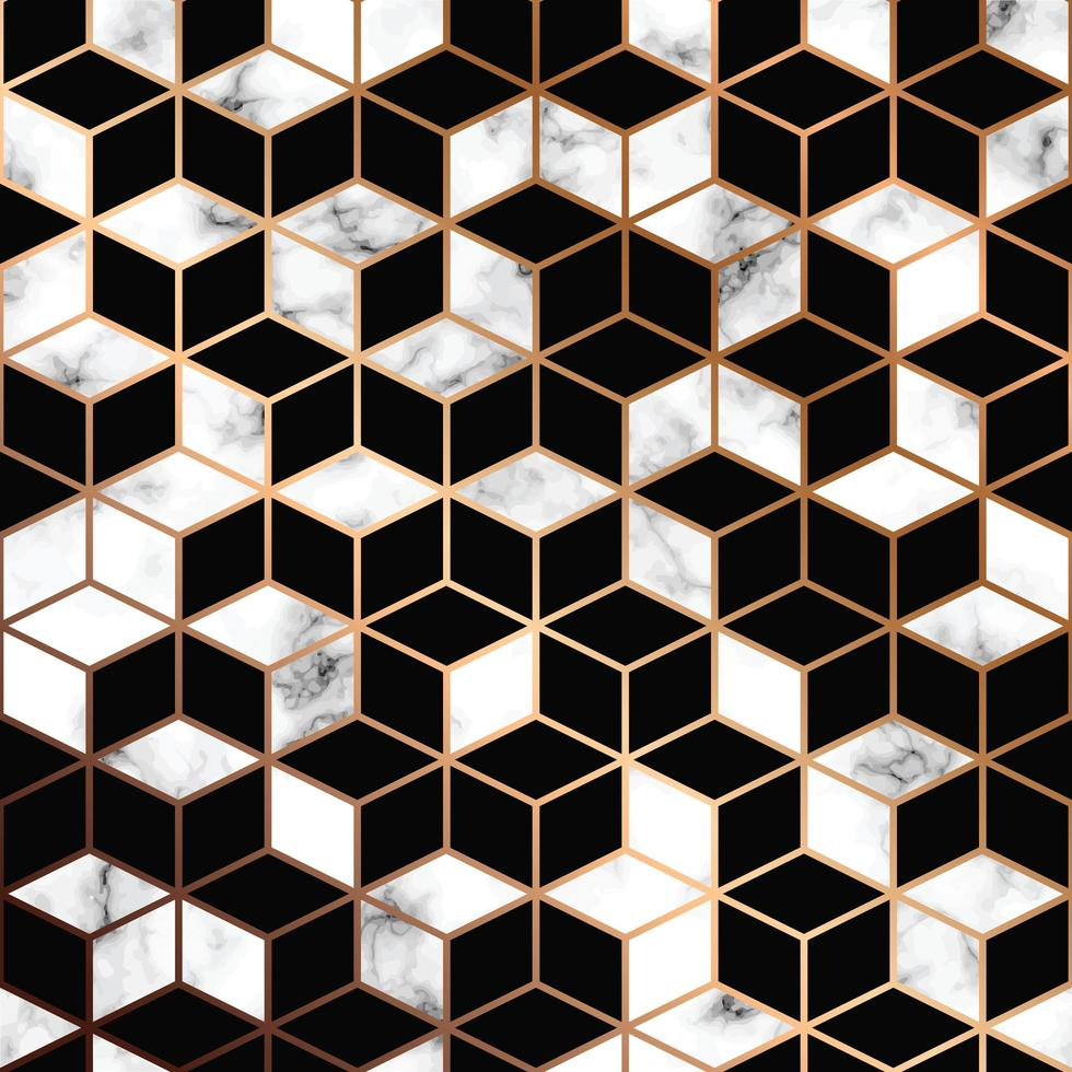 Vector marble texture, seamless pattern design with golden geometric lines and cubes