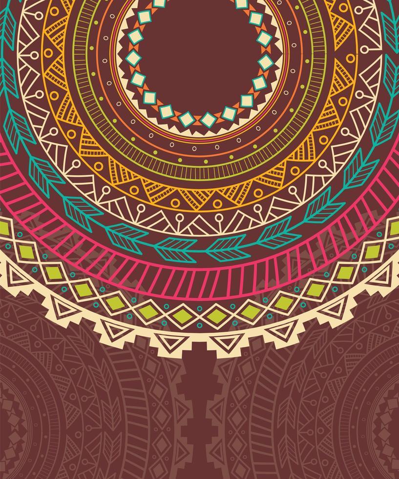Etnisk aztekisk cirkelprydnad vektor