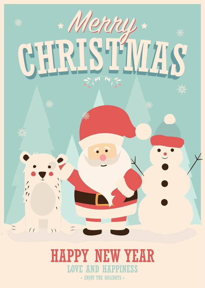 Merry Christmas card with Santa Claus, snowman, and reindeer vector