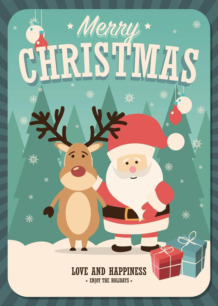 Merry Christmas card with Santa Claus and reindeer and gift boxes vector