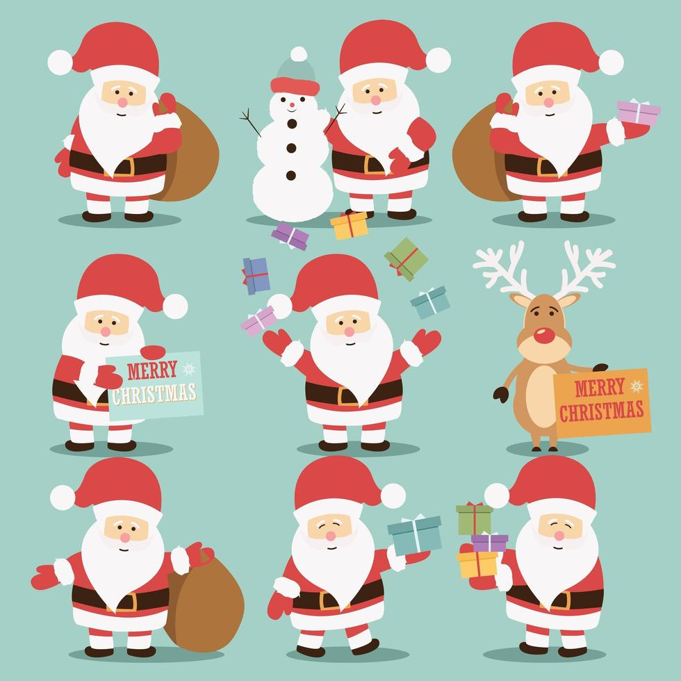 Collection of Santa Claus characters vector