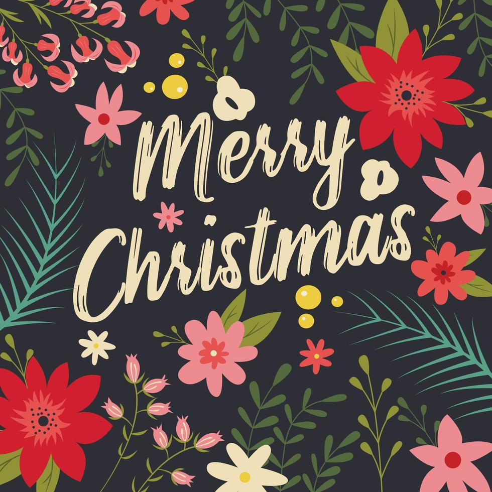 Typografisk god jul med blommiga element vektor