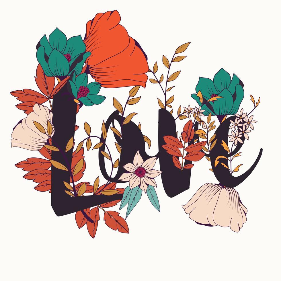 Diseño de cartel de tipografía de flores, texto y flores combinadas vector