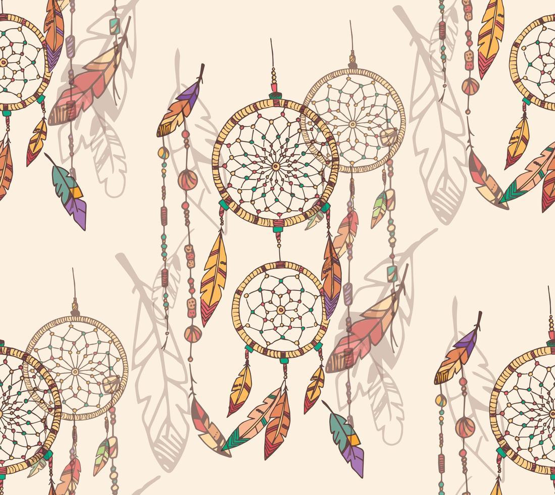 Hand Drawn Bohemian Dream Catcher Seamless Pattern vector