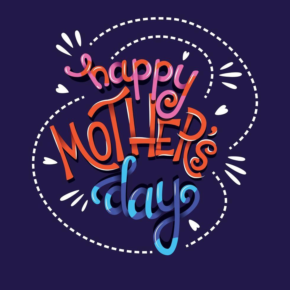 Feliz dia de las madres, tipografía de letras a mano vector