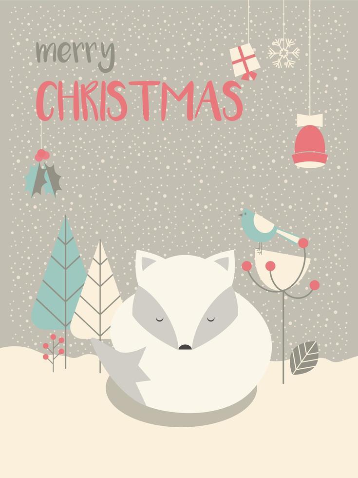 Cute Arctic Christmas sleepy baby fox vector