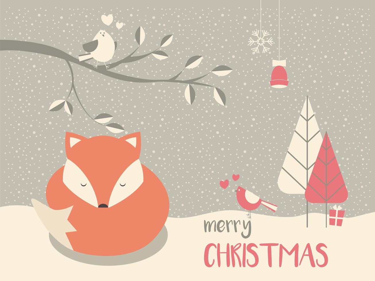 Lindo zorro bebé con sueño navideño vector