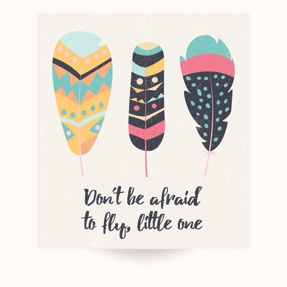 Inspirational quote and bohemian feathers vector