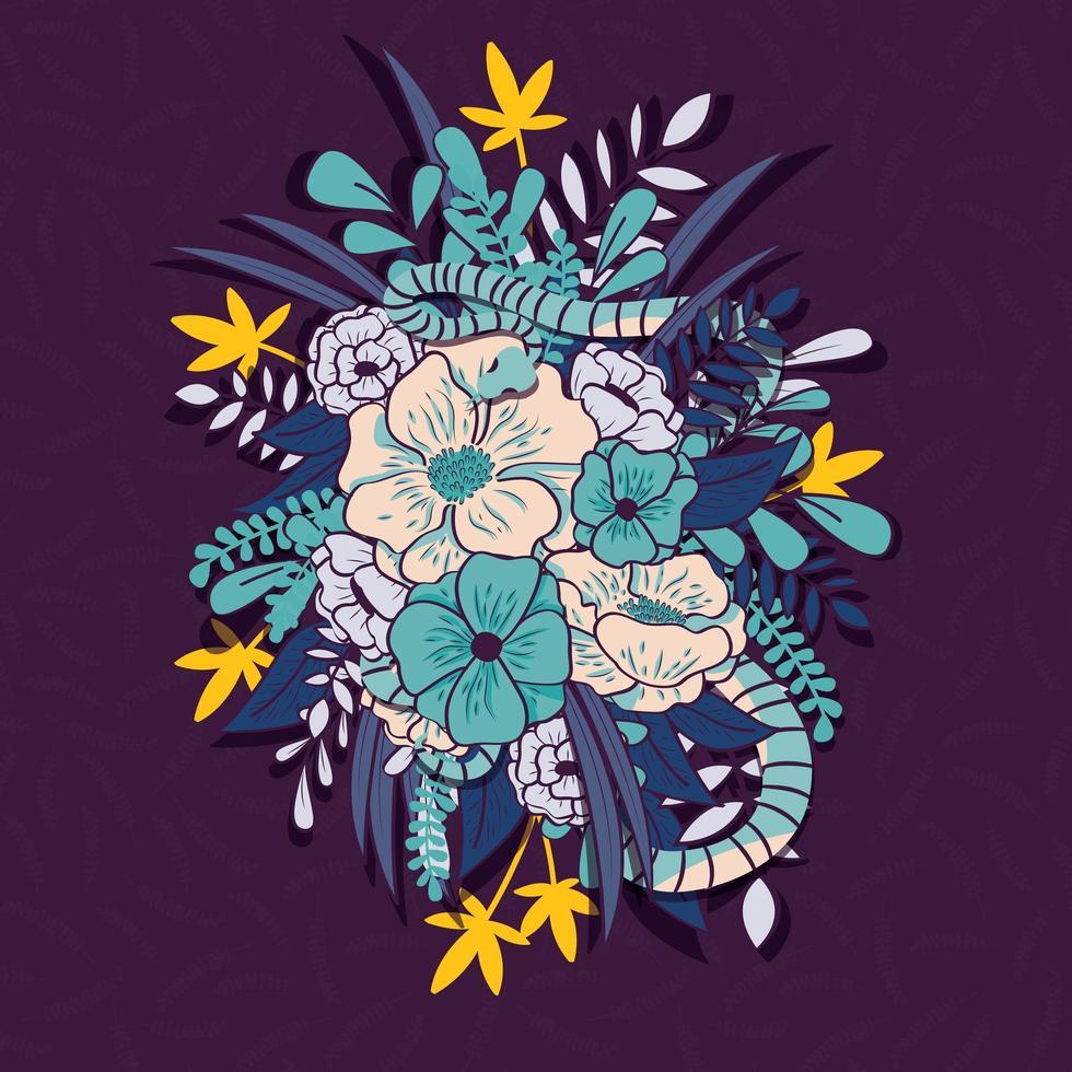 Giungla floreale con motivo a serpenti senza soluzione di continuità vettore