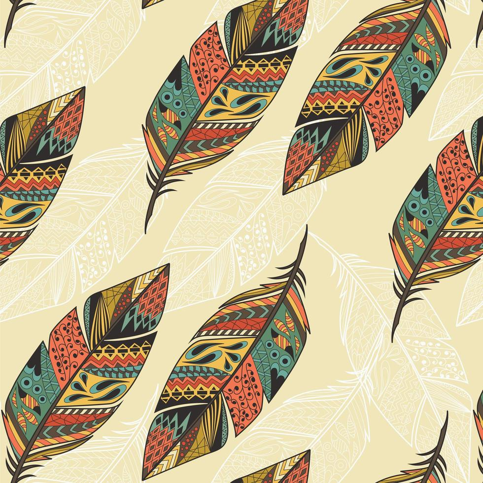 Seamless pattern with ethnic hand drawn colorful feathers vector