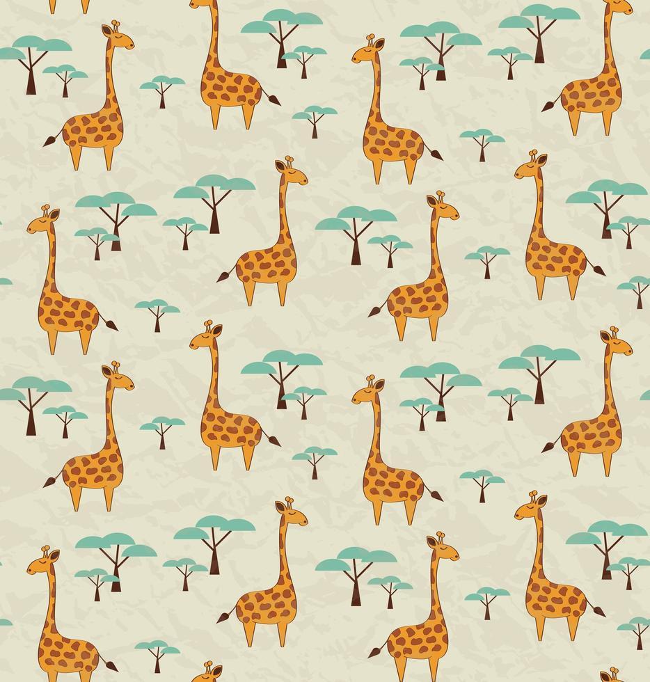Patrones sin fisuras con jirafas y árboles vector