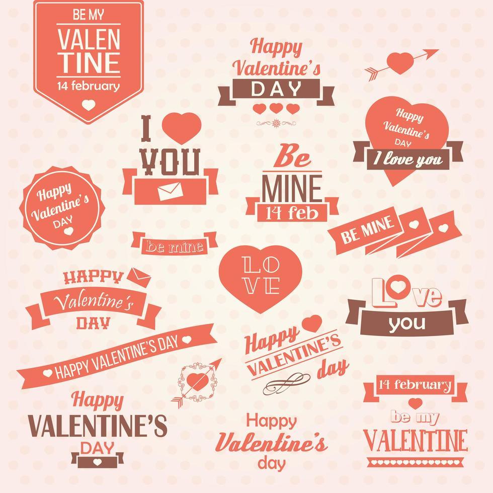 Collezione di etichette vintage per San Valentino vettore