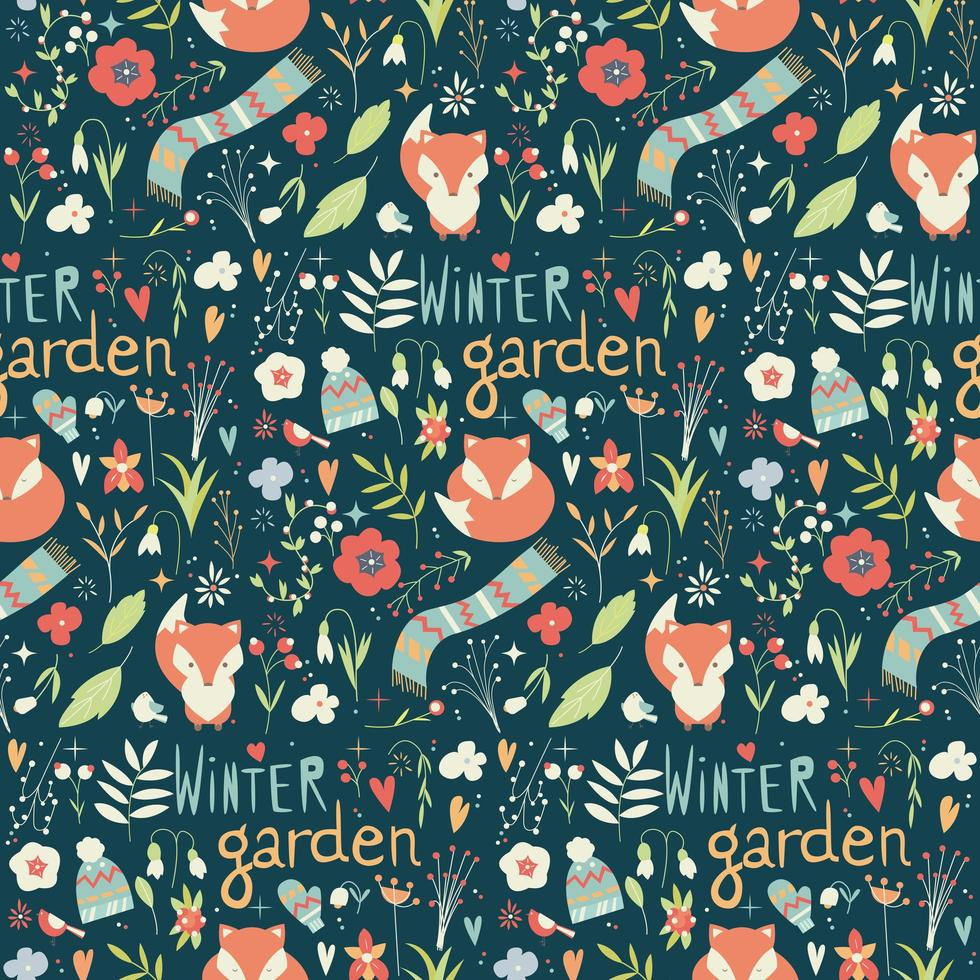 Seamless pattern with flowers, foxes, scarf, hat and mittens vector
